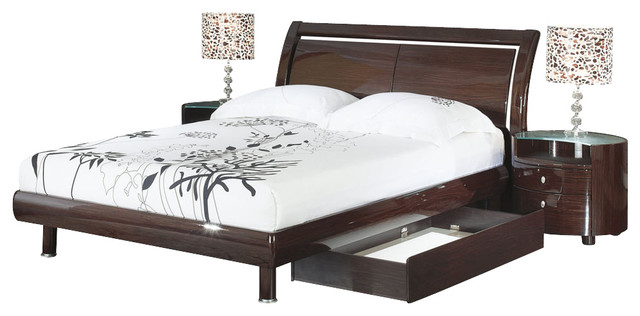 Global Furniture USA Emily 4Piece Sleigh Bedroom Set with Storage in Wenge  Traditional