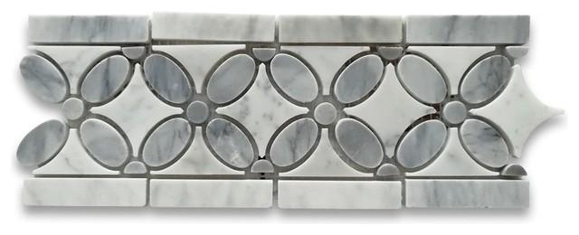 carrara white flower mosaic border listello tile w bardiglio gray dots polished