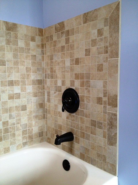 Tiled Tub Surround  Traditional  Bathroom  Cleveland