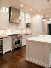 White Transitional Marble Kitchen - Transitional - Kitchen ...