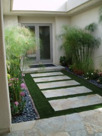 what is that bamboo like plant? Is that artificial grass ...