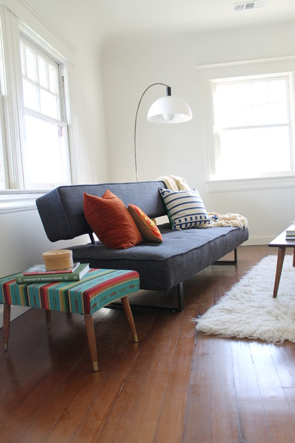 Mid Century Modern Arc Lamp and Mexican Blanket Ottoman