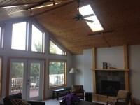 Oak trim, vaulted pine ceilings