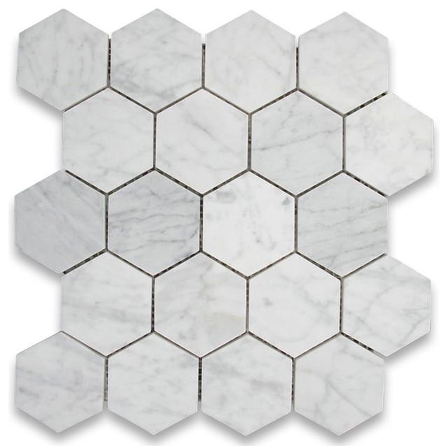 12 25 x10 75 carrara white hexagon mosaic tile polished chip size 3