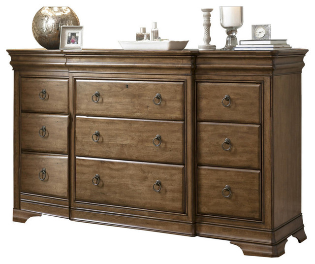 Pennsylvania House Solid Wood 12 Drawer Triple Dresser  Traditional  Dressers  by Zin Home