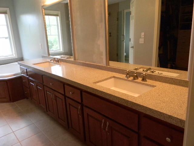 Long Bath vanity King Ivory granite from Granite
