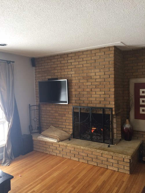 White Painted Fireplace Brick 50's Floor To Ceiling Fireplace Update