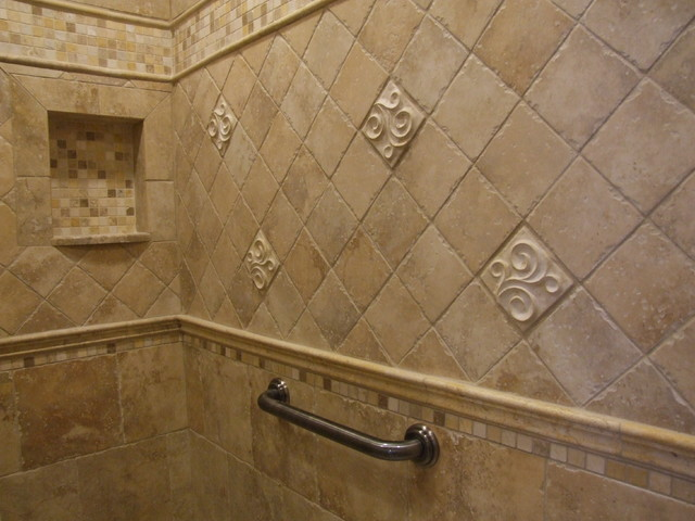 Master Bathroom Shower With Niche And Grab Bar Traditional Bathroom New York By Gem