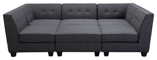 vendome modular gray fabric 6 piece sectional