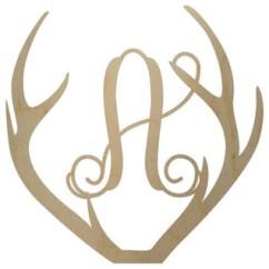 Unfinished Kitchen Wall Cabinets Moen Brushed Nickel Faucet Wooden Deer Antler Letter, 24