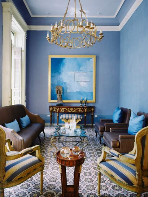 living room sets with tv nice wall colors blue & gold