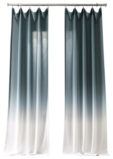 ombre fauxlinen semi sheer single panel curtain aqua 50 x84