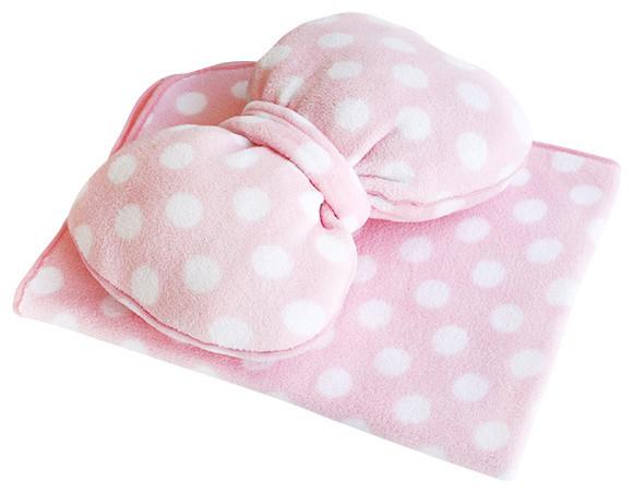 pink bow fleece throw blanket pillow cushion travel blanket 29 5 35 4