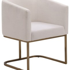 White Fabric Dining Chairs Chair Cover Hire Johannesburg Modrest Yukon Modern And Antique Brass Contemporary By Vig Furniture Inc