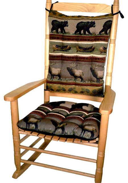 large rocking chair cushion sets plastic garden chairs woodlands northwoods set bear rustic seat cushions by barnett home decor