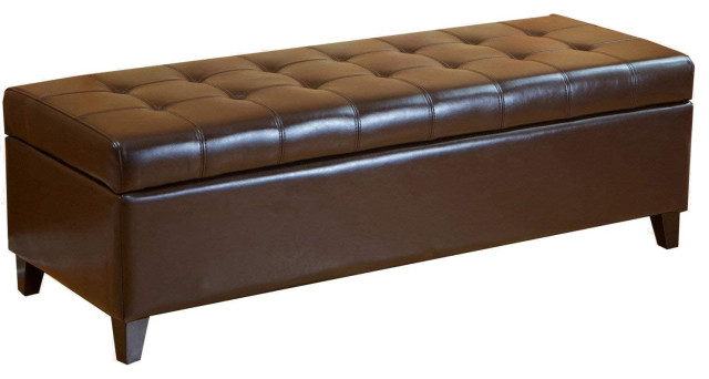 faux leather rectangular lift top storage ottoman bench footrest brown