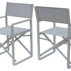 Aluminum Directors Chair Hanging Pier One Teresa Vista Outdoor Mesh And Director Chairs Set Of 2 White