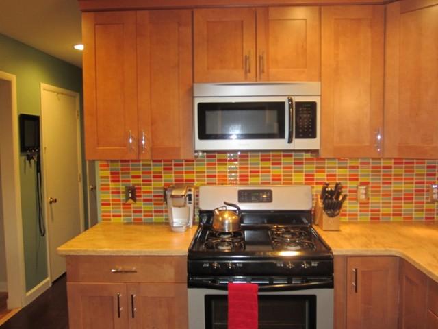 Retro Mosaic Backsplash  Modern  Kitchen  New York  by