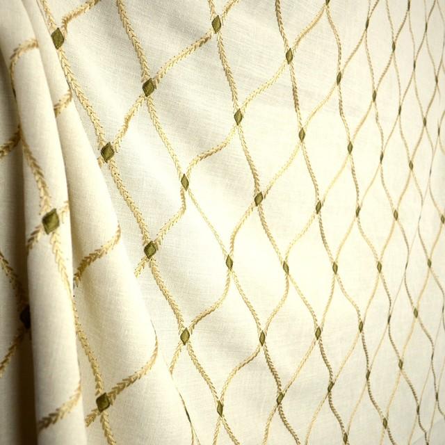 Engaging Ecru Cream Embroidered Trellis Fabric