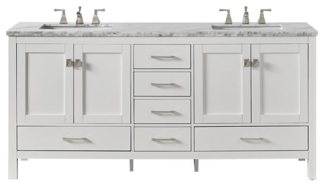 eviva aberdeen 84 white transitional double sink bathroom vanity white carrar