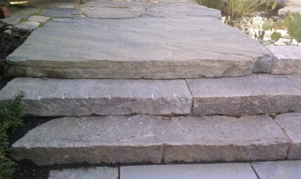 reclaimed granite curbing steps