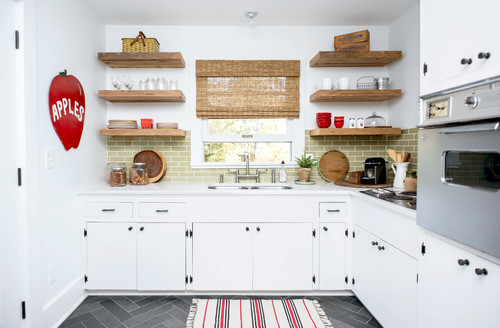 kitchen open shelves table with stools how to arrange in the