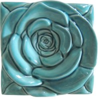Turquoise Rose Tile-Wall Art - Contemporary - Artwork - by ...