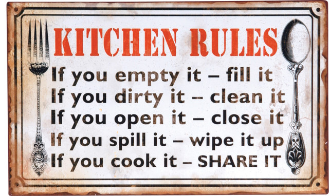 Decoupage Metal Kitchen Rules Wall Sign  Rustic