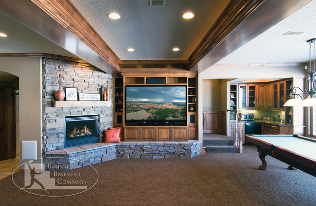 Basement Home Theater Amp Fireplace Traditional Basement