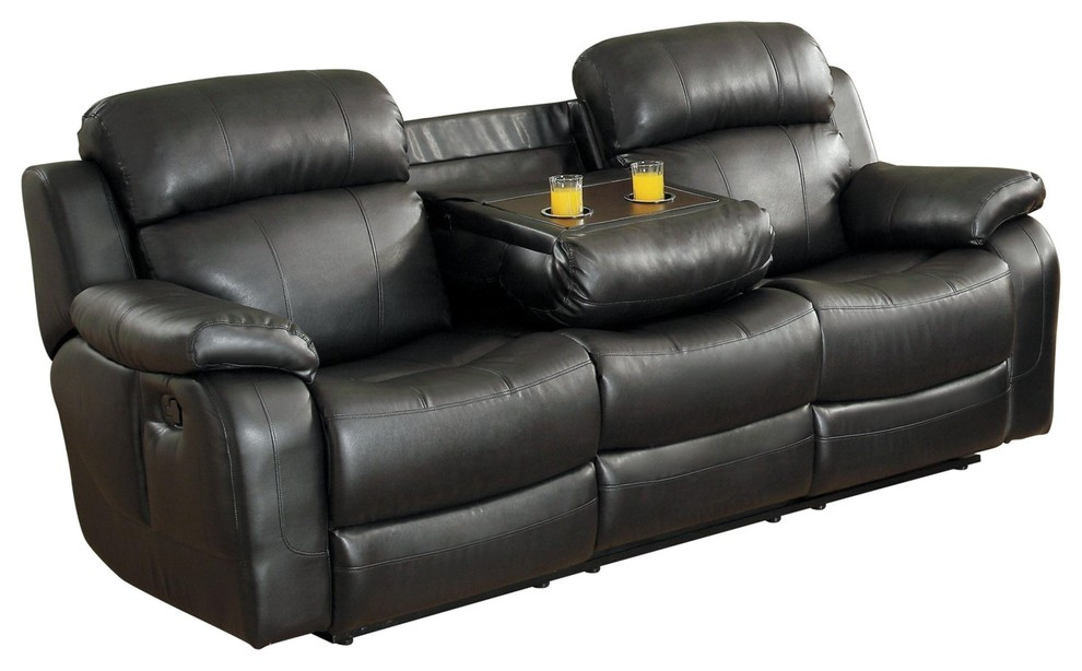 manque double reclining sofa with drop down cup holder black leather