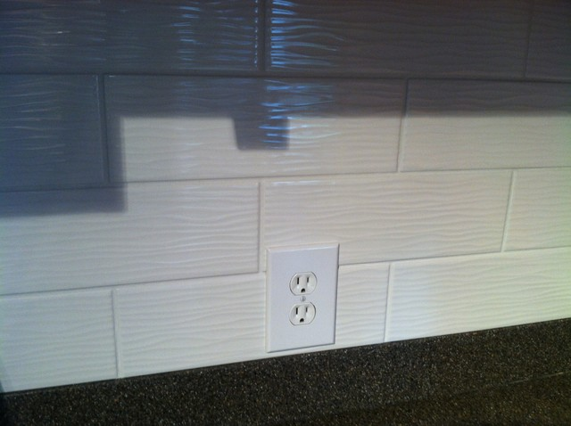 lowes kitchen cabinets sale aid service remodel with wavy textured subway tiles ...