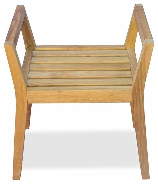 teak shower chairs with arms single lounge chair covers bench by regal contemporary