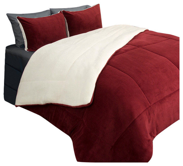 Lavish Home 2 Piece Sherpa/Fleece Comforter Set, Twin