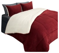 Lavish Home 2 Piece Sherpa/Fleece Comforter Set, Twin