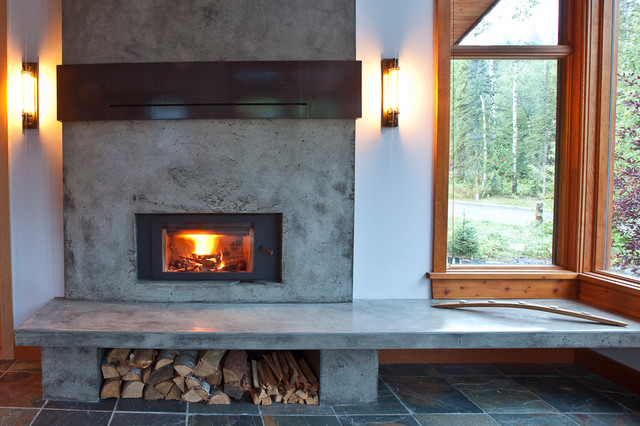 yellow area rug living room purple wallpaper mountain modern home - fireplace renovation
