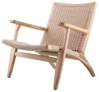 Modern Scandinavian Beech Wood Chair, Woven Rope Seat ...