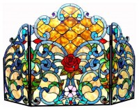Tiffany-style Victorian Fireplace Screen - Contemporary ...