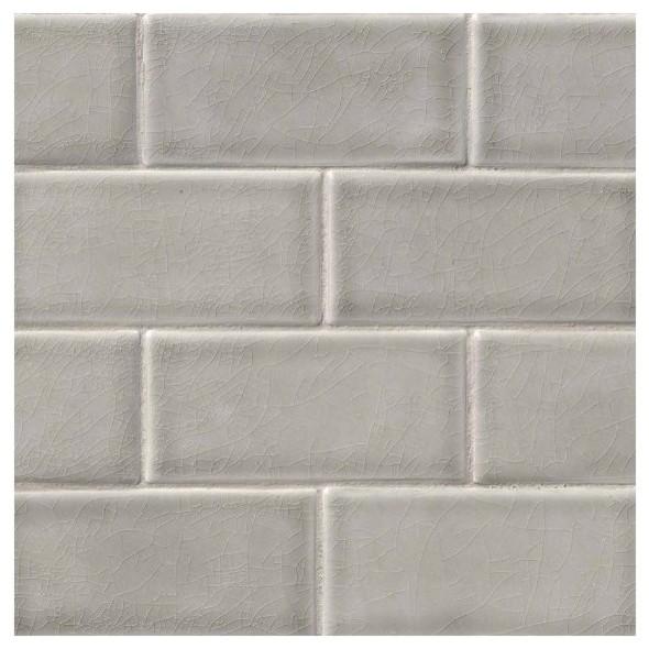 dove gray crackle glazed subway tile mosaic backsplash bathroom kitchen 3 x6