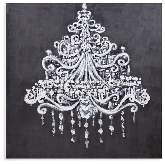 Dramatic Chandelier Canvas Artwork Contemporary Prints And Posters
