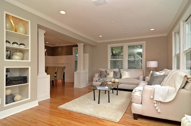 GrayGrey Living Room Looking Into Dining Room With