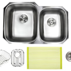 60 40 Kitchen Sink Appliance Cabinet Ariel 32 Stainless Steel Undermount Double And Accessories