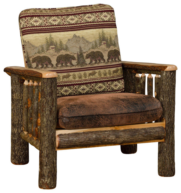 Rustic Hickory Living Room Chair Bear Mt Fabric  Rustic