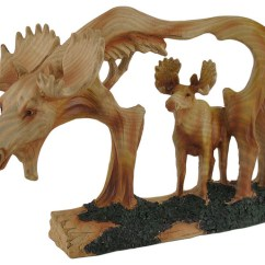 Wooden Bar Stool Chairs Outdoor Circle Chair Carved Wood Look Cutout Moose In Sculpture - Rustic Decorative Objects And Figurines ...