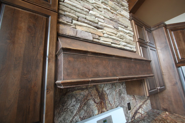 Stacked Stone Range Hood  Traditional  Kitchen