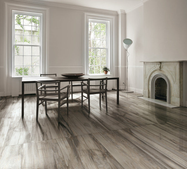 Dining room tile flooring  petrified wood tile