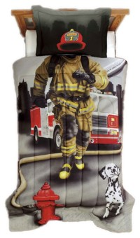 Firefighter Twin Comforter Set Fireman Truck Bedding