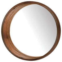 Mamie Round Wooden Wall Mirror, Brown - Wall Mirrors - by ...