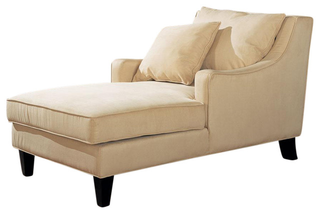 Microfiber Sloping Track Arms Chaise Lounge With Lumbar