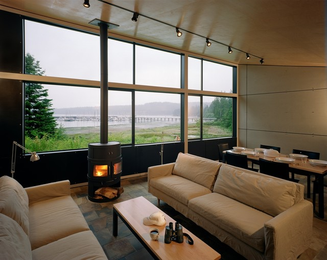 images of living rooms with wood burning stoves curtains for large room window port hadlock cabin - modern seattle by ...