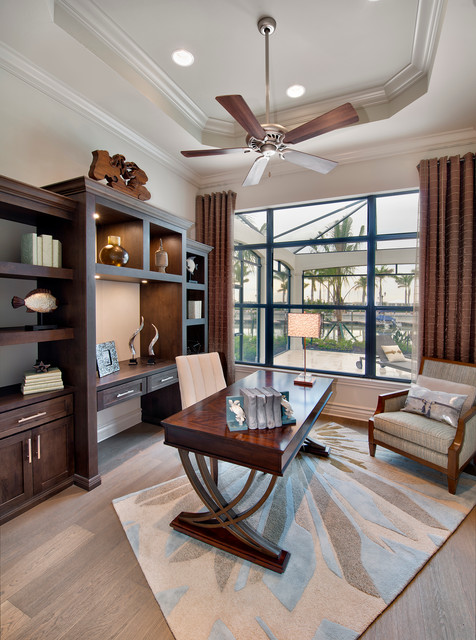 San MIchele  Transitional  Home Office  Miami  by Harbourside Custom Homes